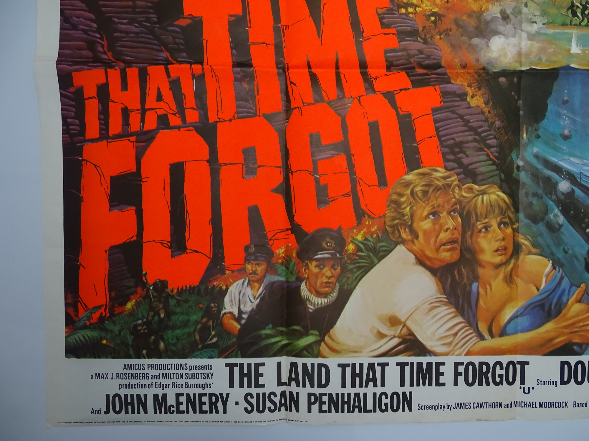 """THE LAND THAT TIME FORGOT (1975) - Artwork by Tom Chantrell British UK Quad Film Poster - 30"""" x - Image 2 of 6"""