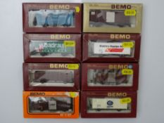 HOm GAUGE MODEL RAILWAYS: A group of BEMO HOm mixed wagons in various liveries - G/VG in G boxes (