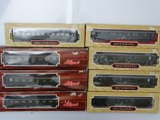 HO GAUGE MODEL RAILWAYS: A group of LILIPUT German Outline coaches in DB green livery - G/VG in G