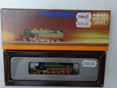 Z GAUGE MODEL RAILWAYS: A MARKLIN mini-club 88061 steam tank locomotive in K.W.St.E - VG/E in G/VG