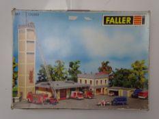 HO GAUGE MODEL RAILWAYS: A FALLER 130989 modern fire station with commander's building kit,