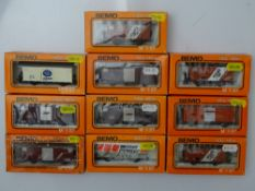 HOm GAUGE MODEL RAILWAYS: A group of BEMO HOm mixed wagons in various liveries - G/VG in F/G