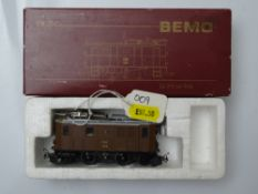 HOe GAUGE MODEL RAILWAYS: A BEMO HOe 1056 122 Swiss Outline Ge2/4 electric locomotive in RhB brown
