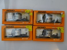 HOe GAUGE MODEL RAILWAYS: A group of BEMO HOe (9mm) tank wagons all in RhB livery - G/VG in F/G