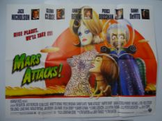 "MARS ATTACKS (1996) - UK Quad Film Poster - TIM BURTON - Philip Castle design - 30"" x 40"" (76 x"