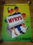 FRENCH ADVERTISING POSTER (1955) - Illustrated by NICOLITCH 'MYRYS SHOES' (155cm x 115cm) -