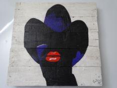 URBAN ART – PAINT ON PALLET WOOD SIGNED ARTIST PROOF BY BOWKETT BASED ON THE POLISH ARTWORK FOR