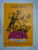 BLAZING SADDLES (1974) - International One Sheet movie poster - cast montage on orange
