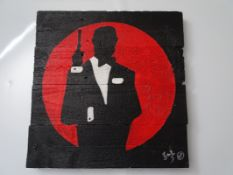 "URBAN ART – JAMES BOND THEMED - PAINT ON PALLET WOOD SIGNED ARTIST PROOF BY BOWKETT BASED (15.25"""