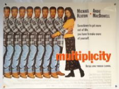 MULTIPLICITY - (1996) - COMEDY / ROMANCE / SCI-FI - MICHAEL KEETON / ANDIE MCDOWELL - UK QUAD FILM /