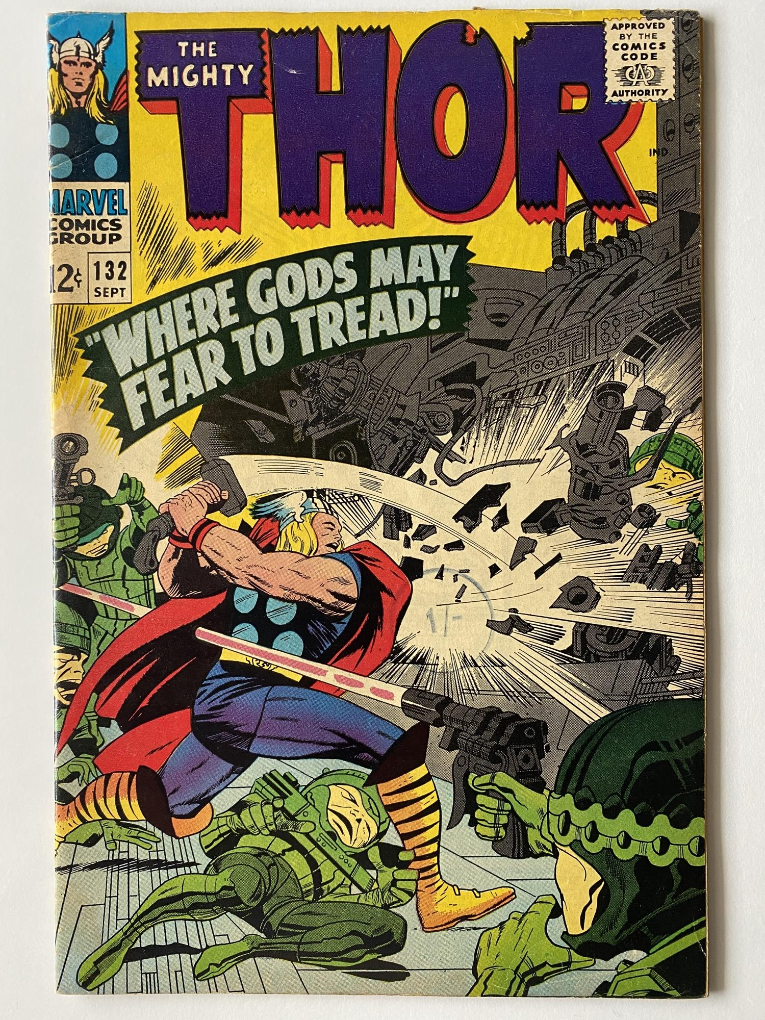 Lot 17 - THOR # 132 (1966 - MARVEL - Cents Copy with Pence Stamp) - First appearance of Ego the Living Planet