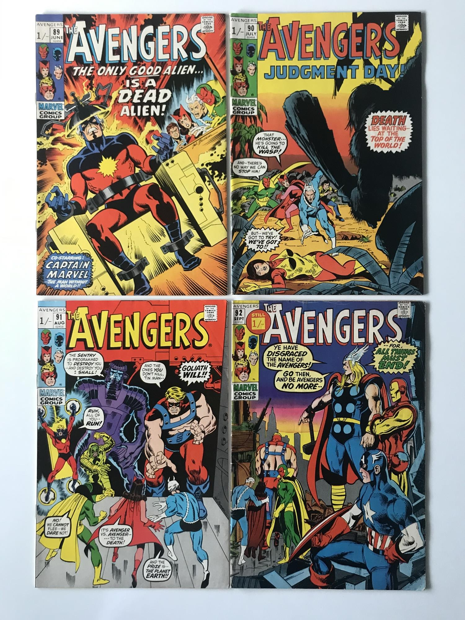 Lot 48 - AVENGERS # 89, 90, 91, 92 (Group of 4) - (1971 - MARVEL - Pence Copy) - Run includes classic Captain