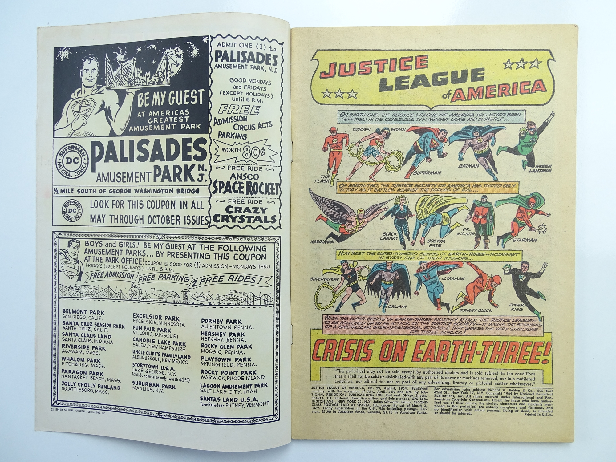 Lot 57 - JUSTICE LEAGUE OF AMERICA # 29 (1964 - DC - Cents Copy) - 'Crisis on Earth-Three' storyline +