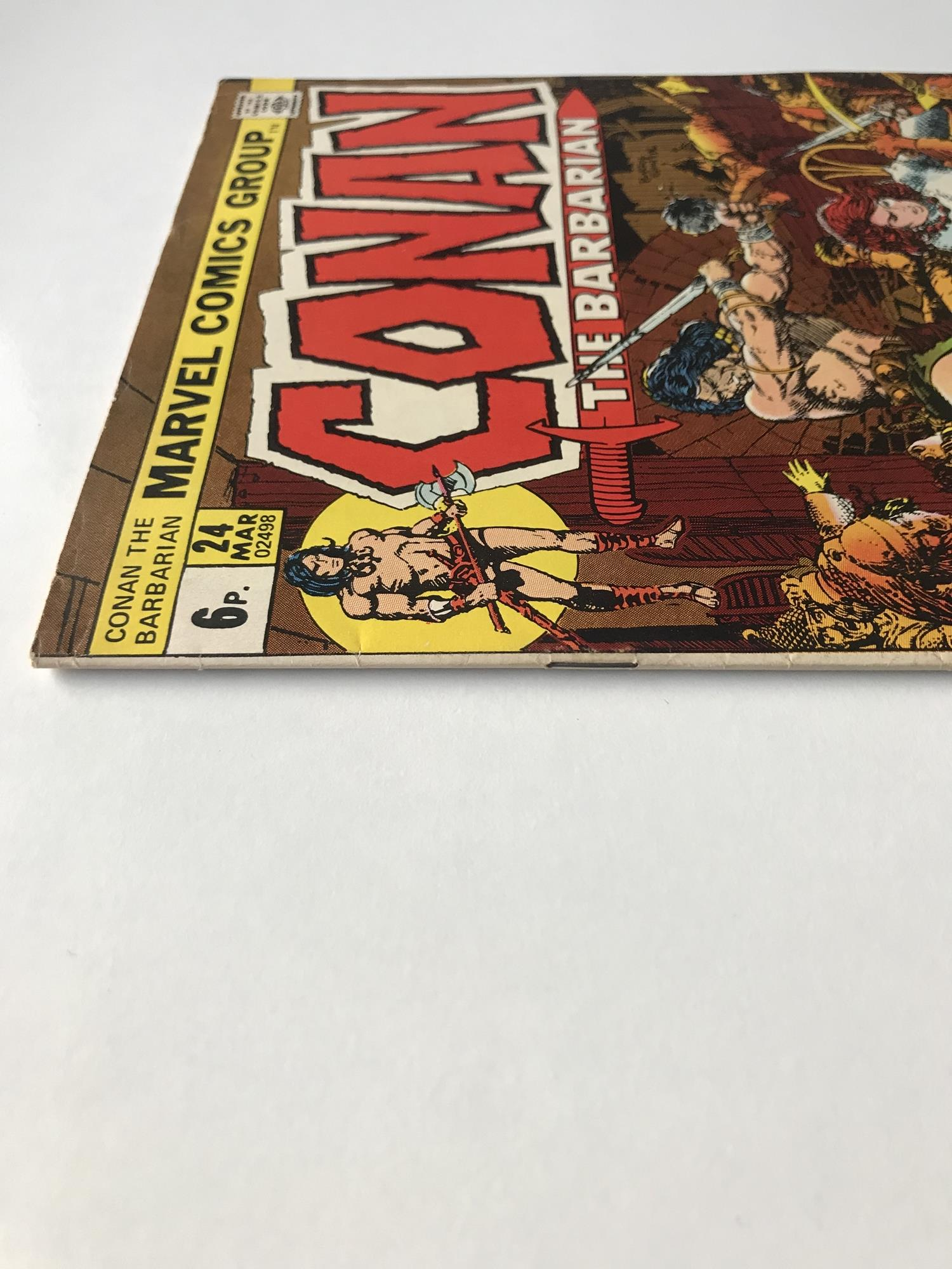 Lot 42 - CONAN # 24 (1973 - MARVEL - Pence Copy) - First full appearance of Red Sonja - Barry Smith cover and