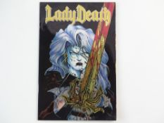 LADY DEATH #1 - (1994 - CHAOS - Cents Copy) - First Print - Chromium Cover - Adam Hughes cover -