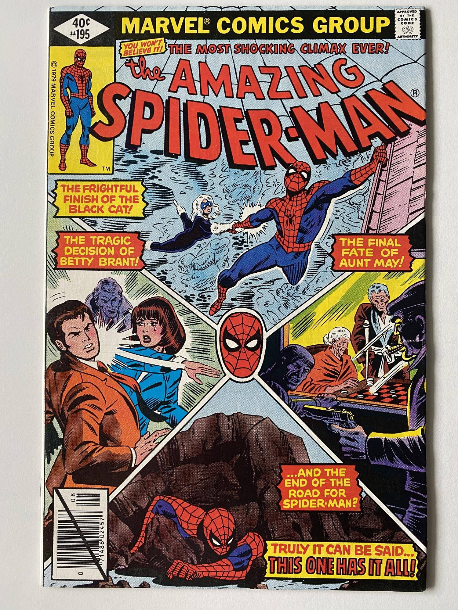 Lot 23 - AMAZING SPIDER-MAN # 195 (1979 - MARVEL - Cents Copy) - Origin and second appearance of the Black