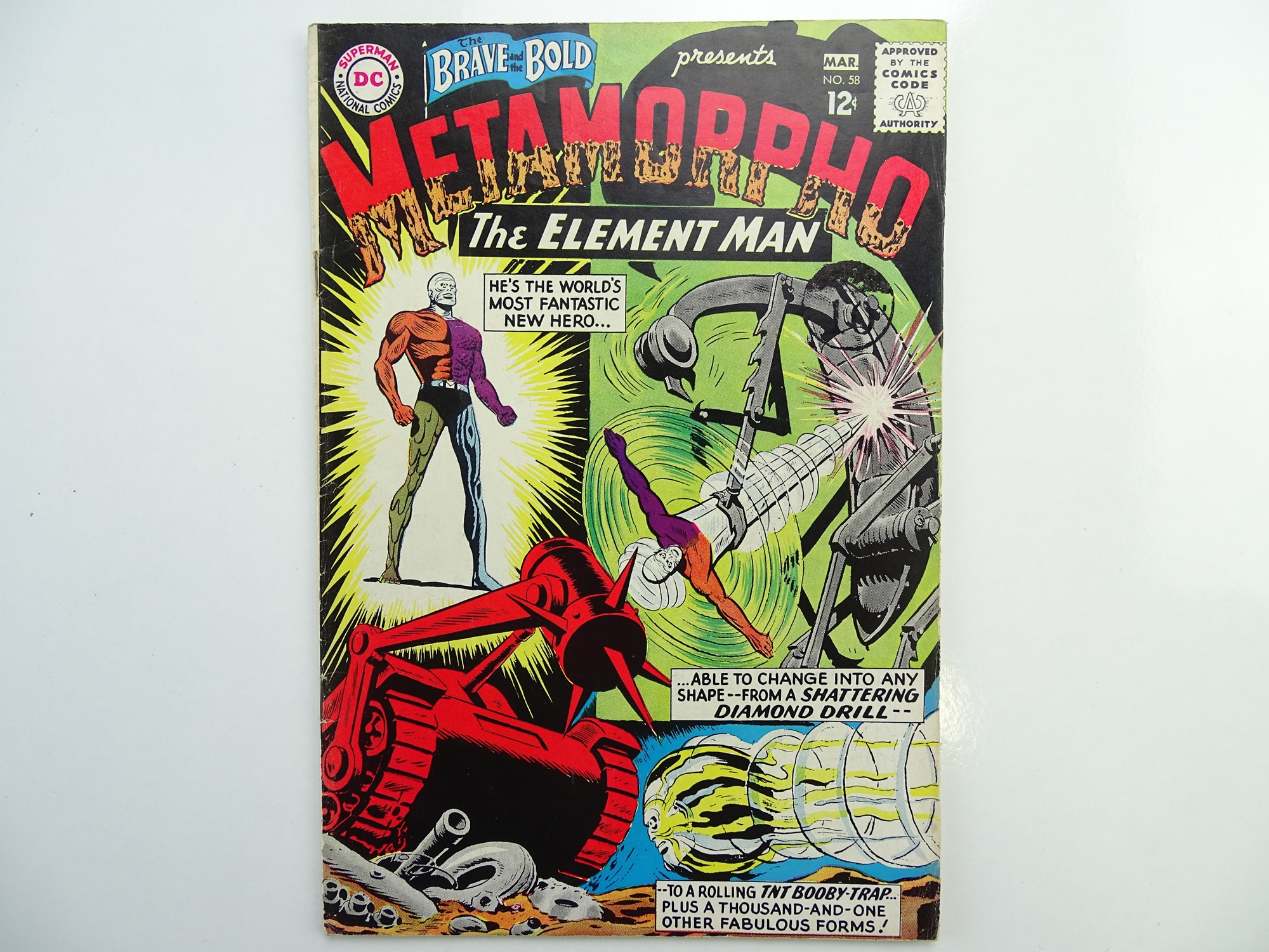 Lot 54 - BRAVE & BOLD: METAMORPHO # 58 (1965 - DC - Cents Copy with Pence Stamp) - Second appearance of
