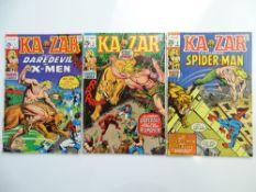KA-ZAR # 1, 2, 3 (Group of 3) - (1970 - MARVEL - Cents Copy with Pence Stamp) - Flat/Unfolded - a