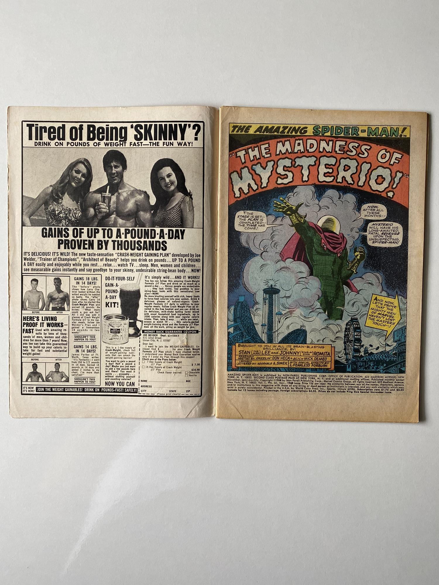 Lot 27 - AMAZING SPIDER-MAN # 66 (1968 - MARVEL - Cents Copy) - Spider-Man battles Mysterio. + Green Goblin