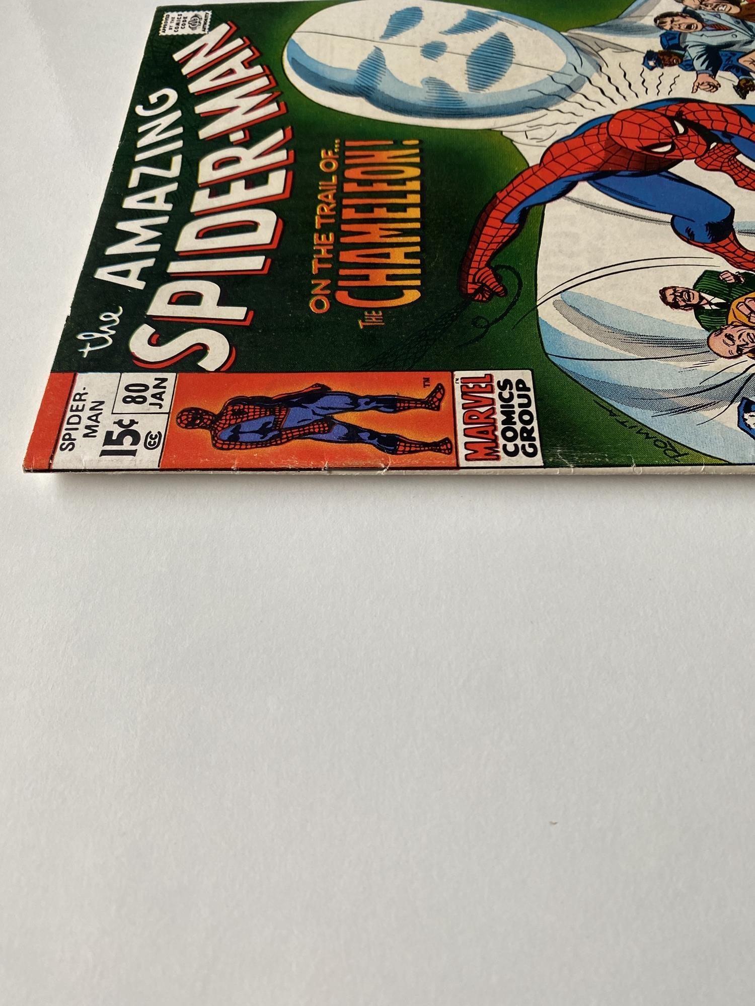 Lot 26 - AMAZING SPIDER-MAN # 80 (1970 - MARVEL - Cents Copy) - Chameleon appearance - John Romita Sr.