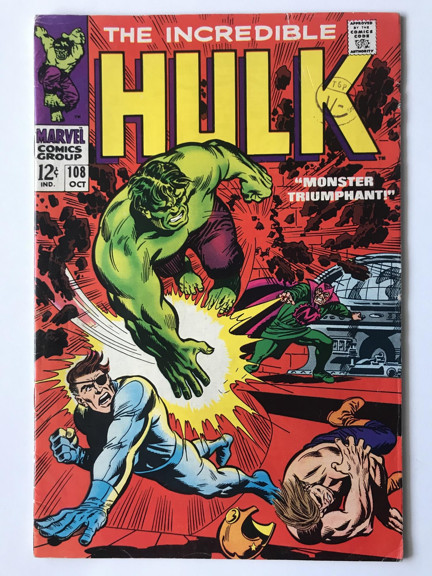 Lot 38 - HULK # 108 (1968 - MARVEL - Cents with Pence Stamp) - Hulk battles Mandarin + Nick Fury and S.H.I.