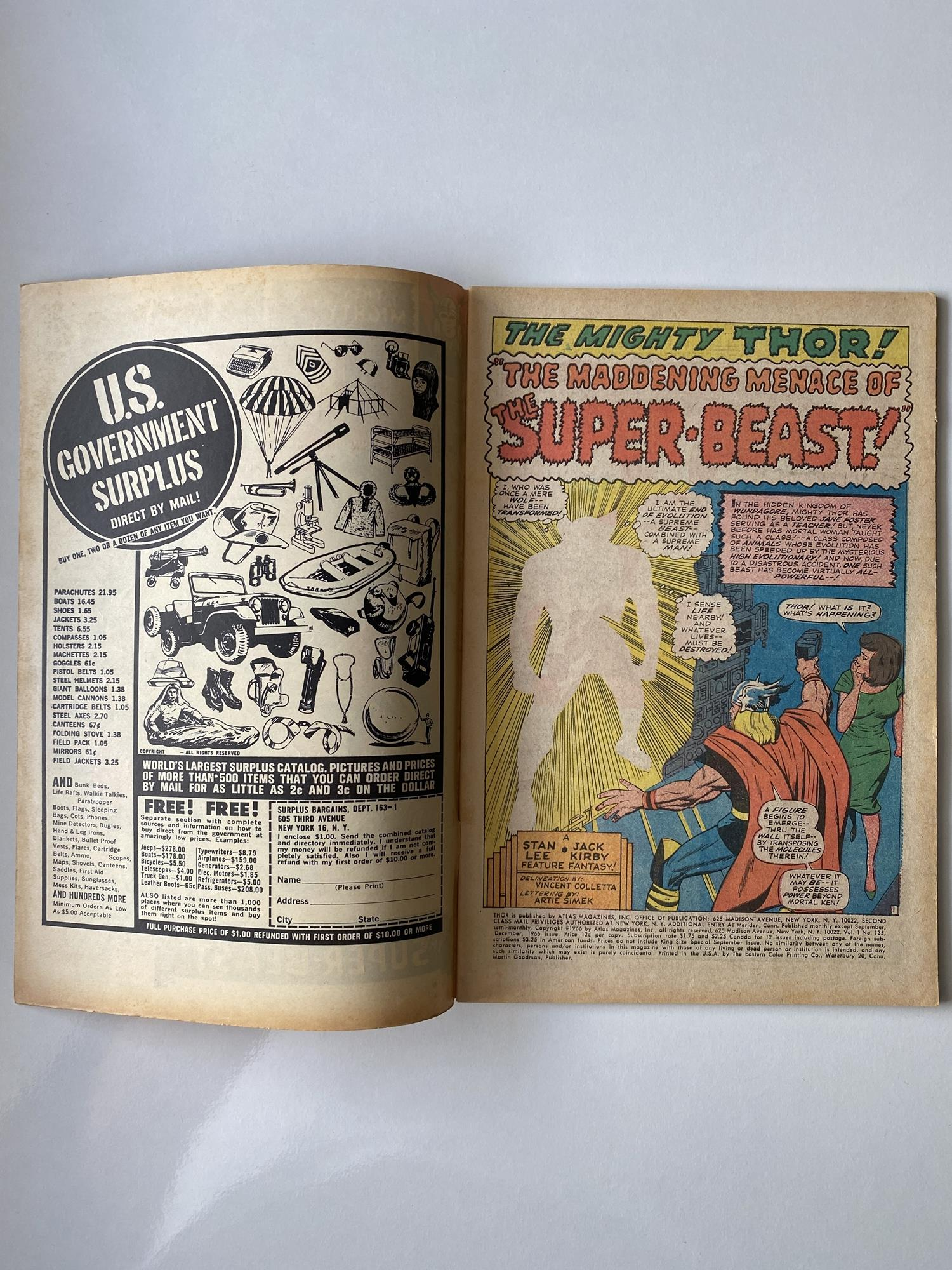 Lot 18 - THOR # 135 (1966 - MARVEL - Pence Copy) - High Evolutionary appearance - Jack Kirby cover and