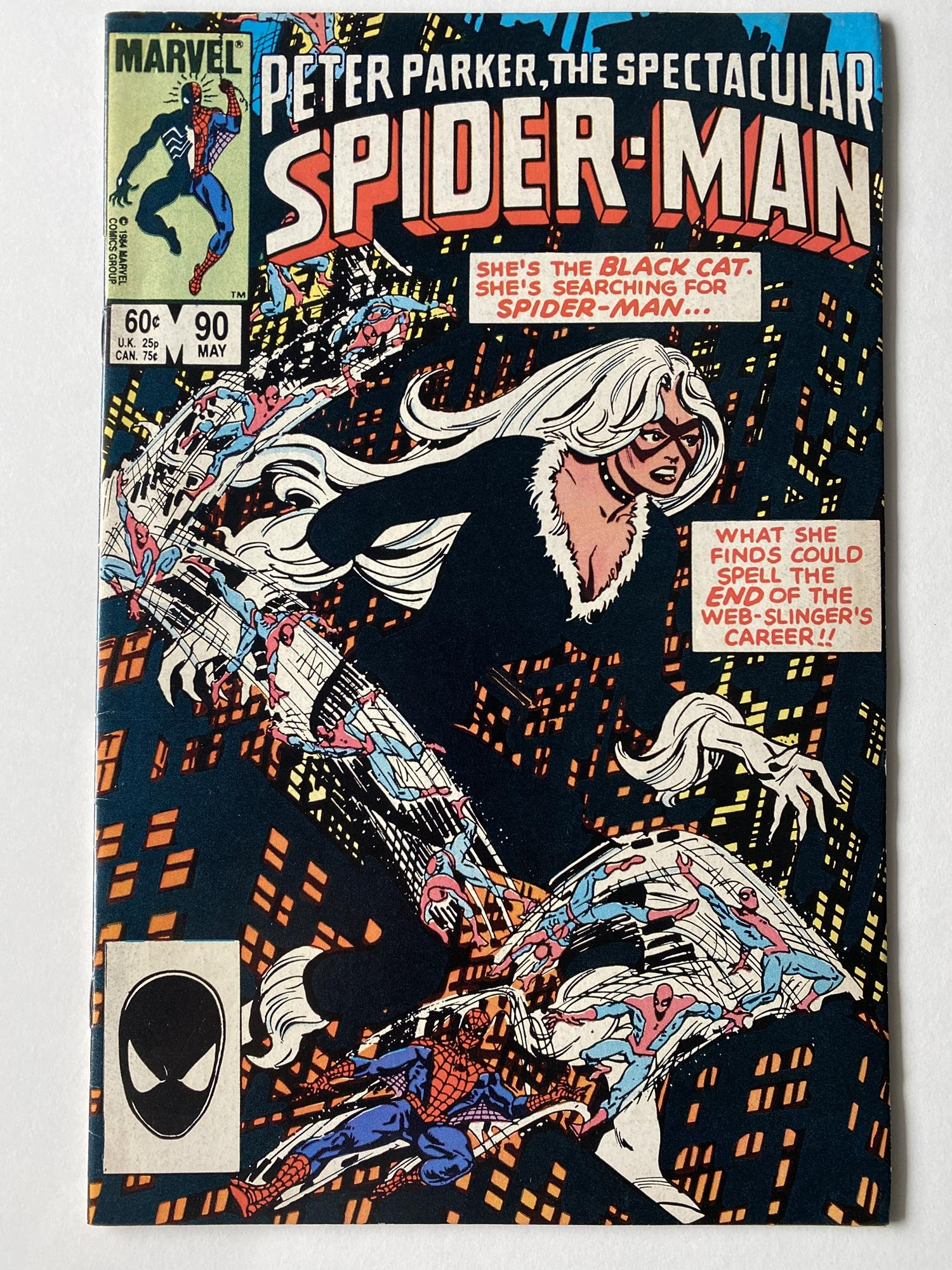 Lot 25 - SPECTACULAR SPIDER-MAN # 90 (1984 - MARVEL - Cents/Pence Copy) - First black costume in title, which