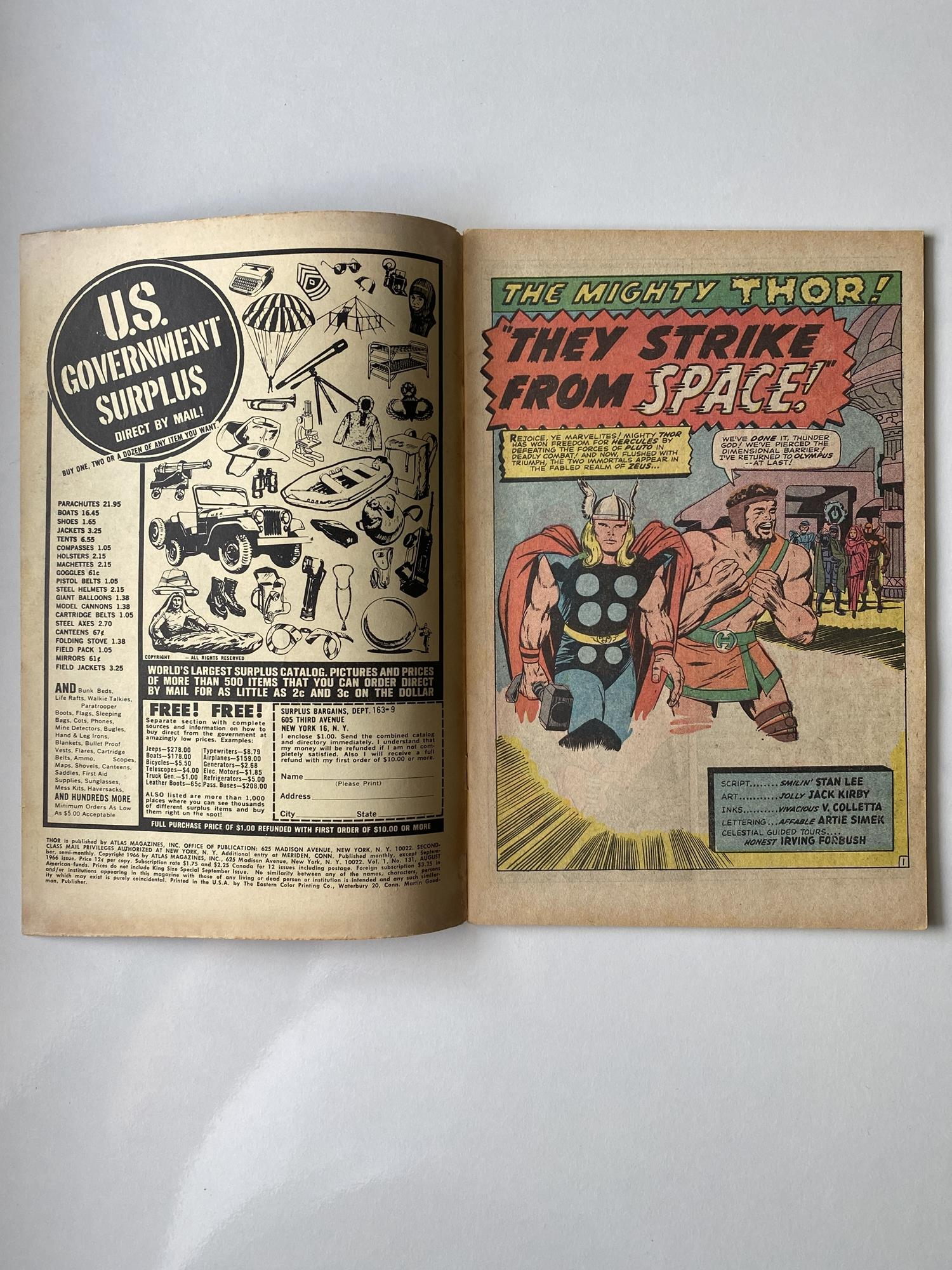 Lot 16 - THOR # 131 (1966 - MARVEL - Pence Copy) - First appearance of the Rigellians, also known as the