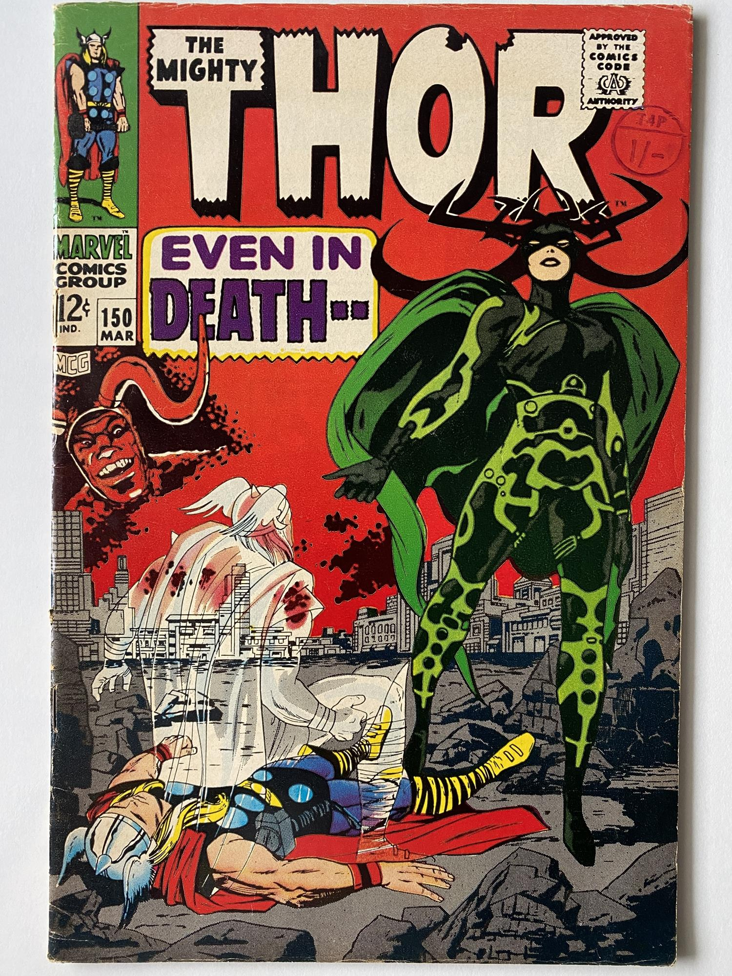 Lot 13 - THOR # 150 (1968 - MARVEL - Cents Copy with Pence Stamp) - Classic 'Hela' cover with Wrecker,