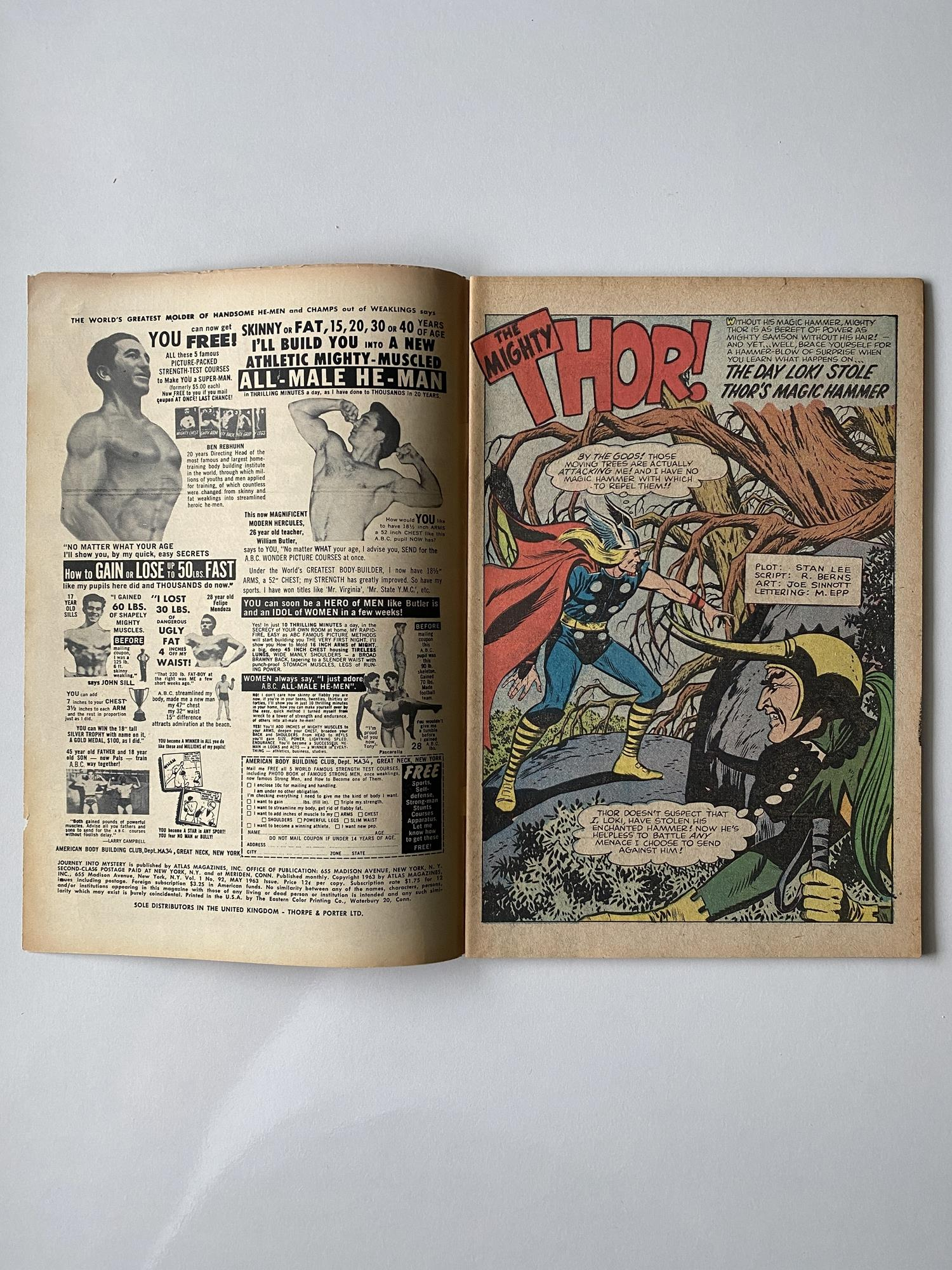 Lot 3 - JOURNEY INTO MYSTERY # 92 - (1963 - MARVEL - Pence Copy) - Thor and Loki cover by Jack Kirby + Steve
