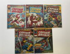 CAPTAIN BRITAIN LOT (Group of 5) - (1976 - BRITISH MARVEL Pence Copy) - First appearance CAPTAIN