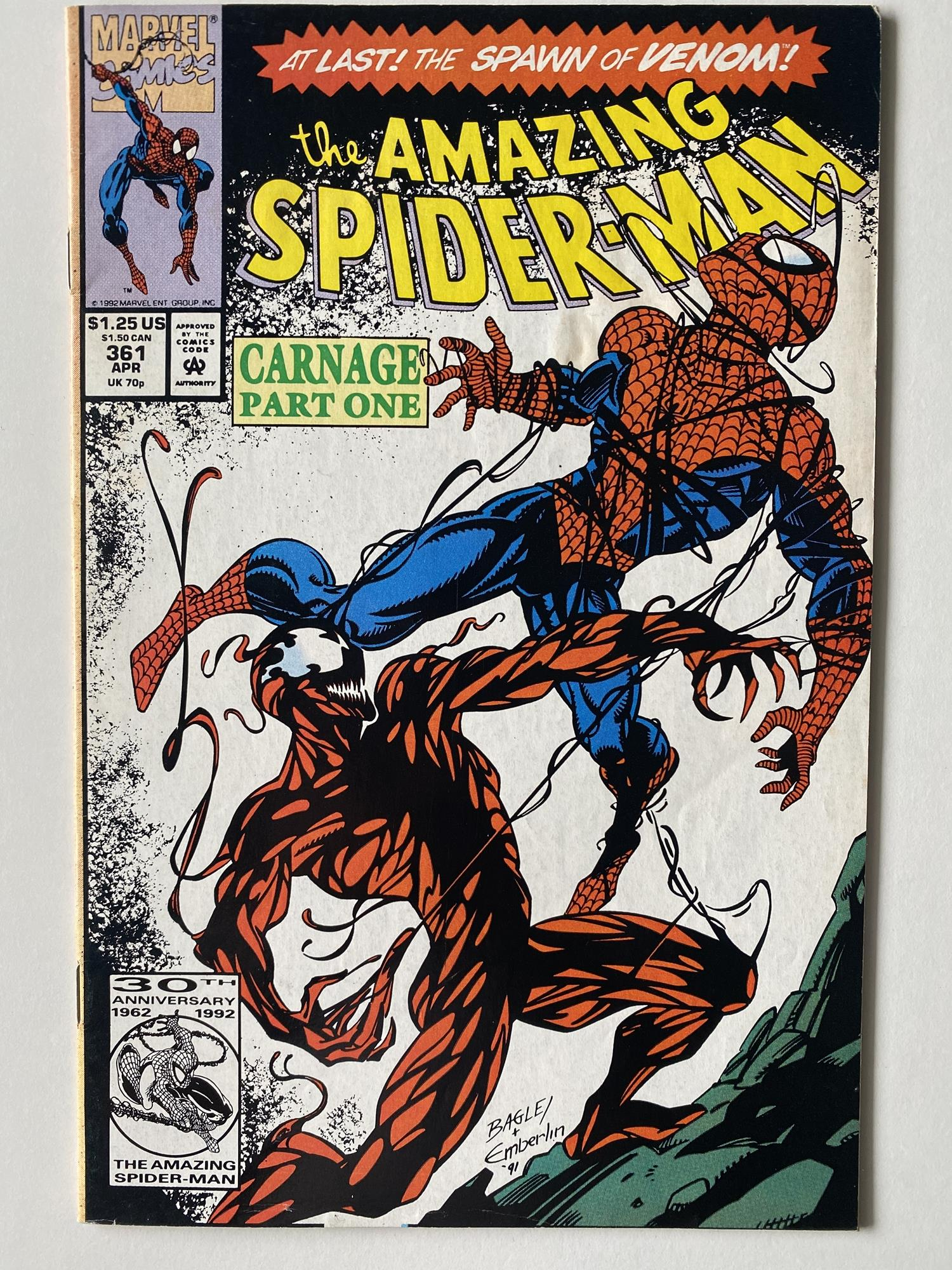 Lot 21 - AMAZING SPIDER-MAN # 361 (1992 - MARVEL - Cents/Pence Copy) - First full appearance of Carnage (