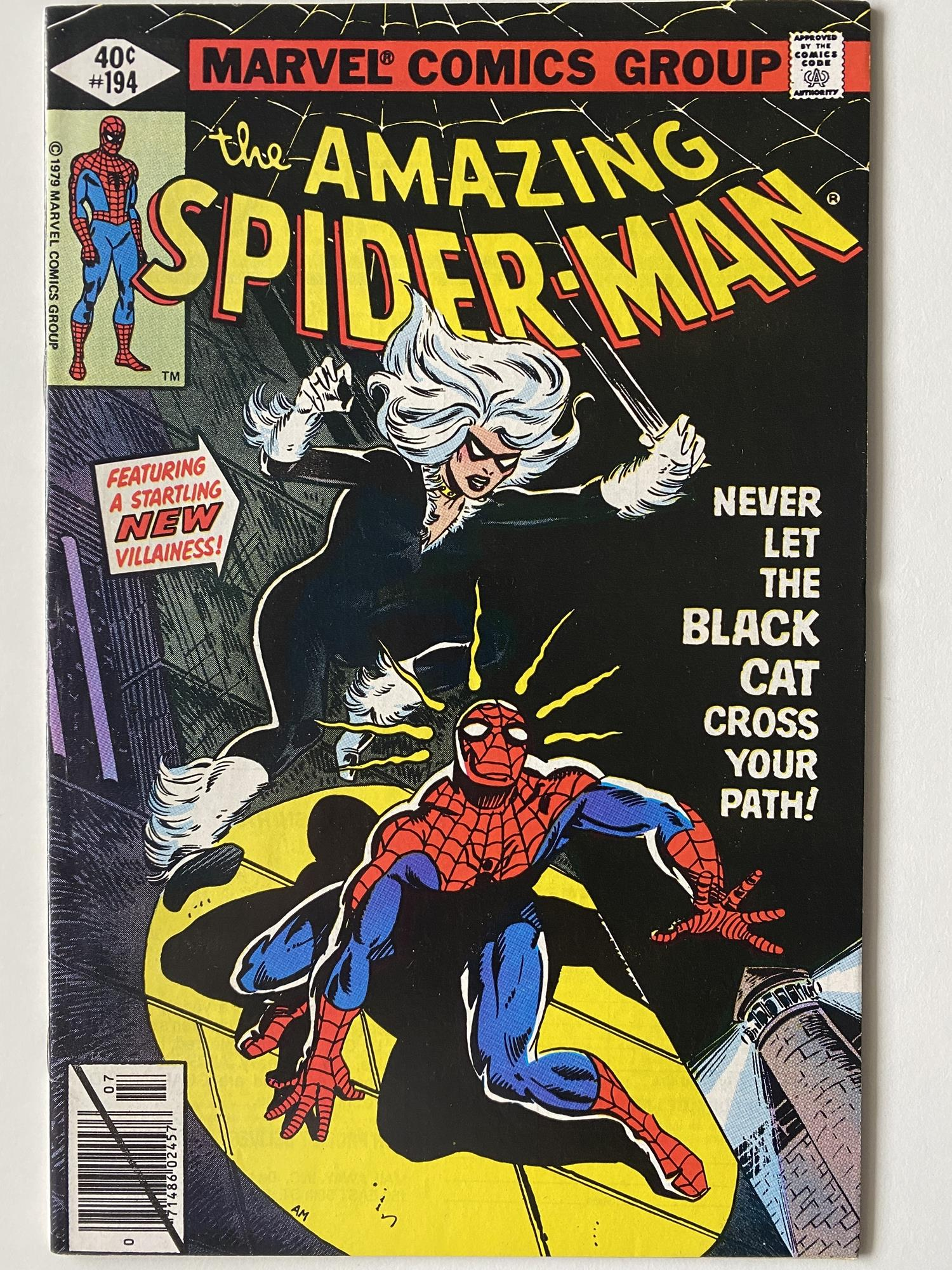 Lot 22 - AMAZING SPIDER-MAN # 194 (1979 - MARVEL - Cents Copy) - First appearance of the Black Cat + Mysterio