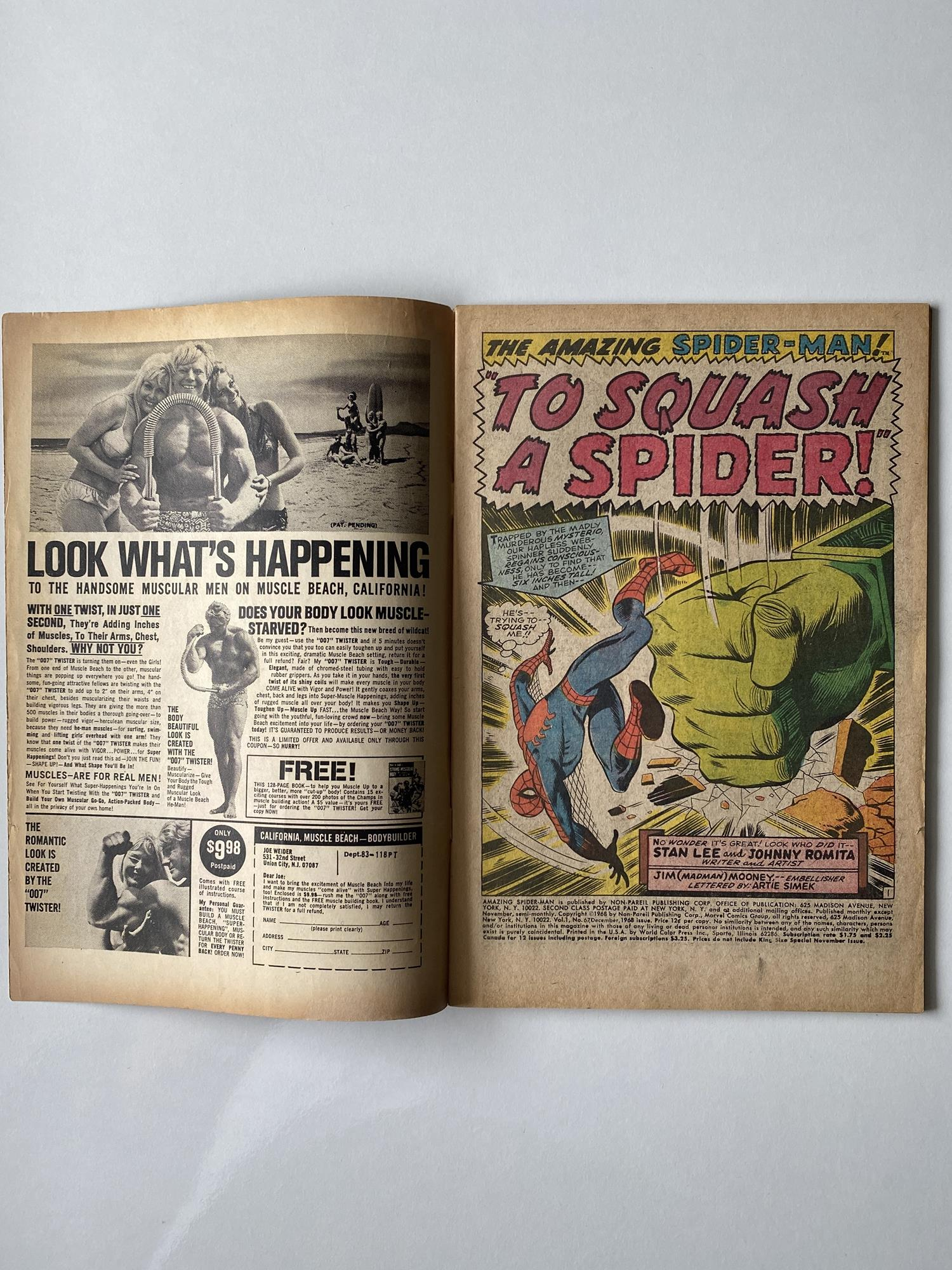 Lot 28 - AMAZING SPIDER-MAN # 67 (1968 - MARVEL - Cents Copy) - Spider-Man battles Mysterio + First