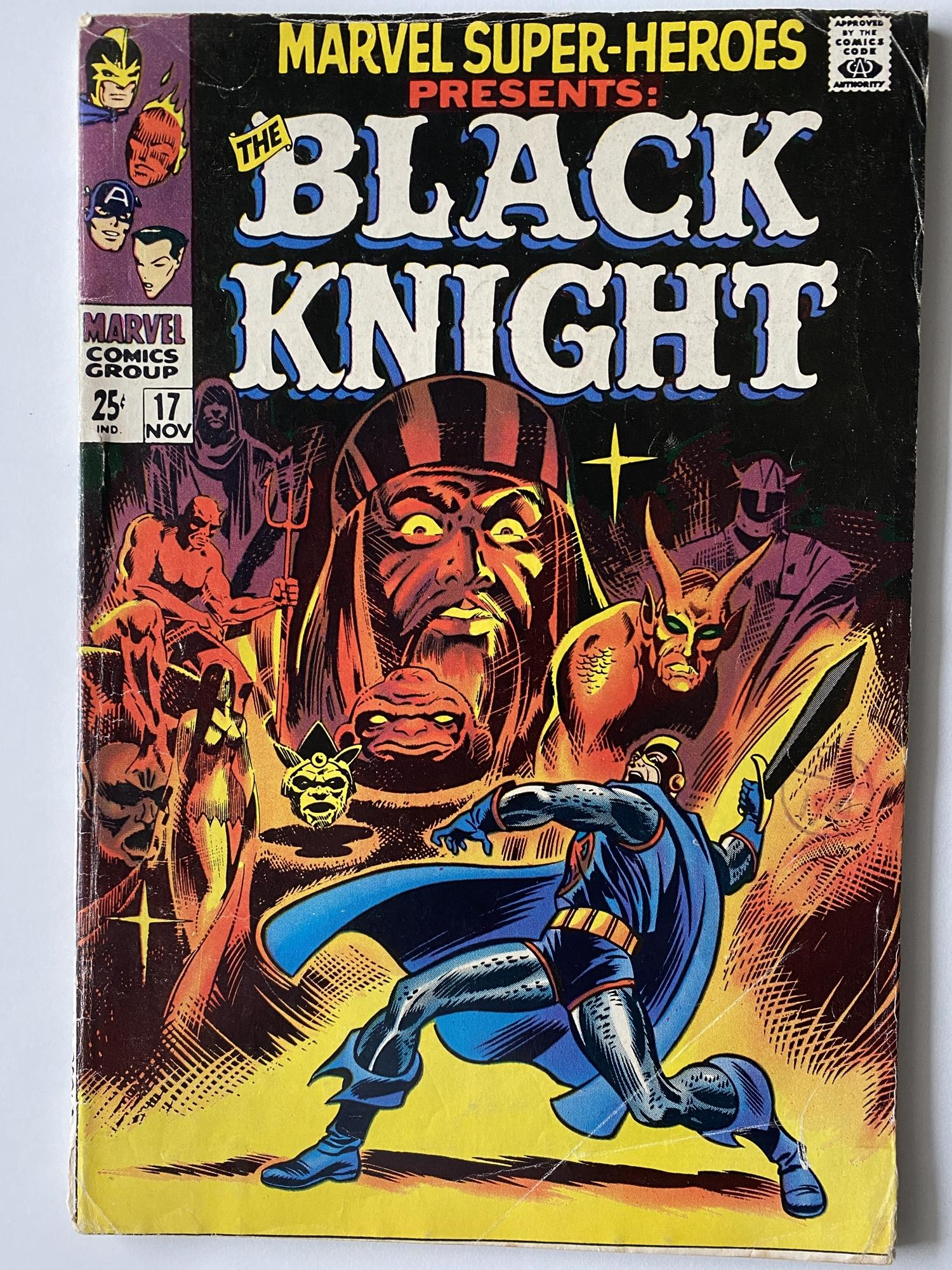 Lot 8 - MARVEL SUPER HEROES: BLACK KNIGHT # 17 (1968 - MARVEL - Cents Copy with Pence Stamp) - Origin of the