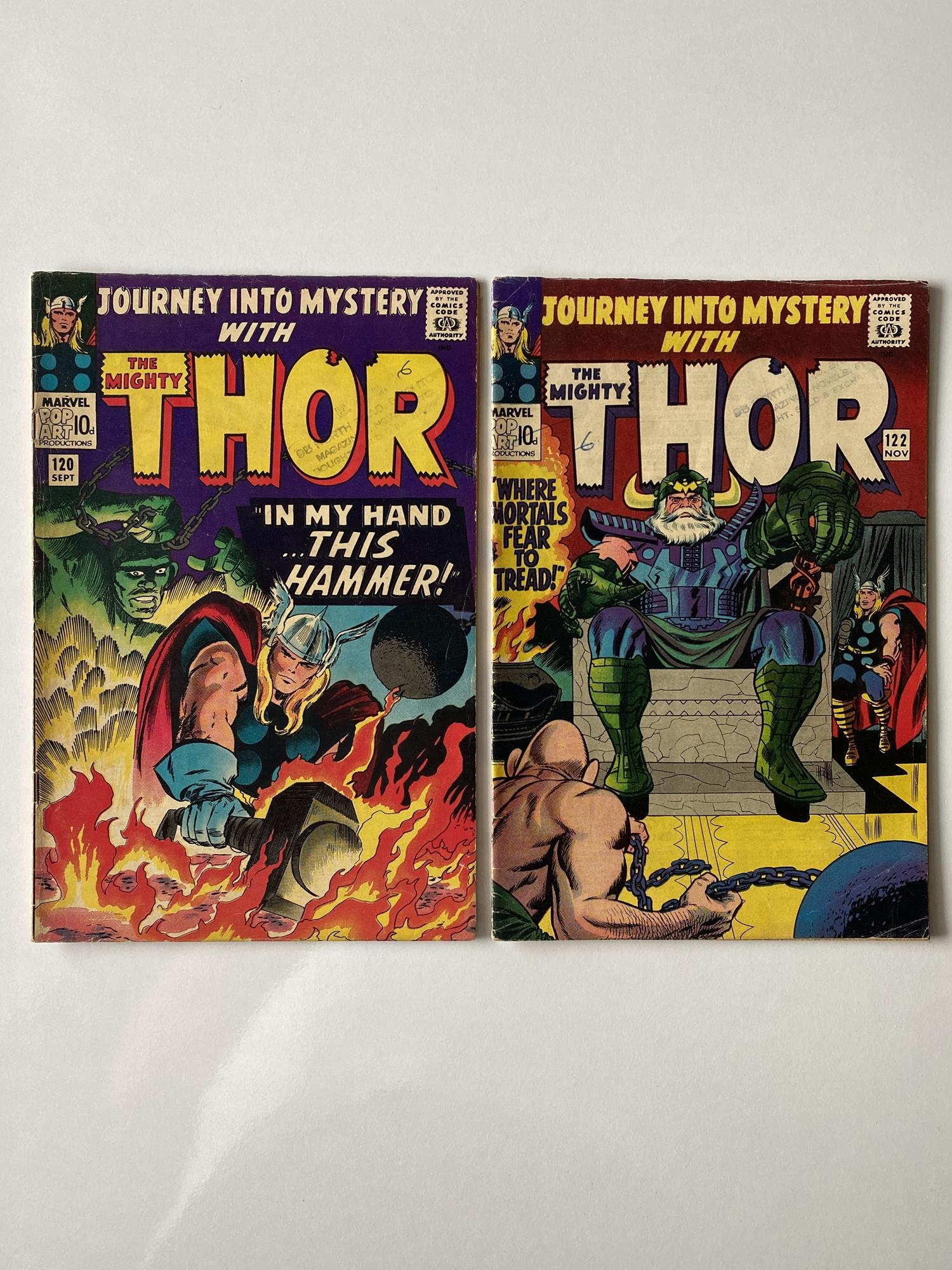 Lot 14 - THOR # 120 & 122 (Group of 2) - (1965 - MARVEL - Pence Copy) - Jack Kirby cover and interior art -
