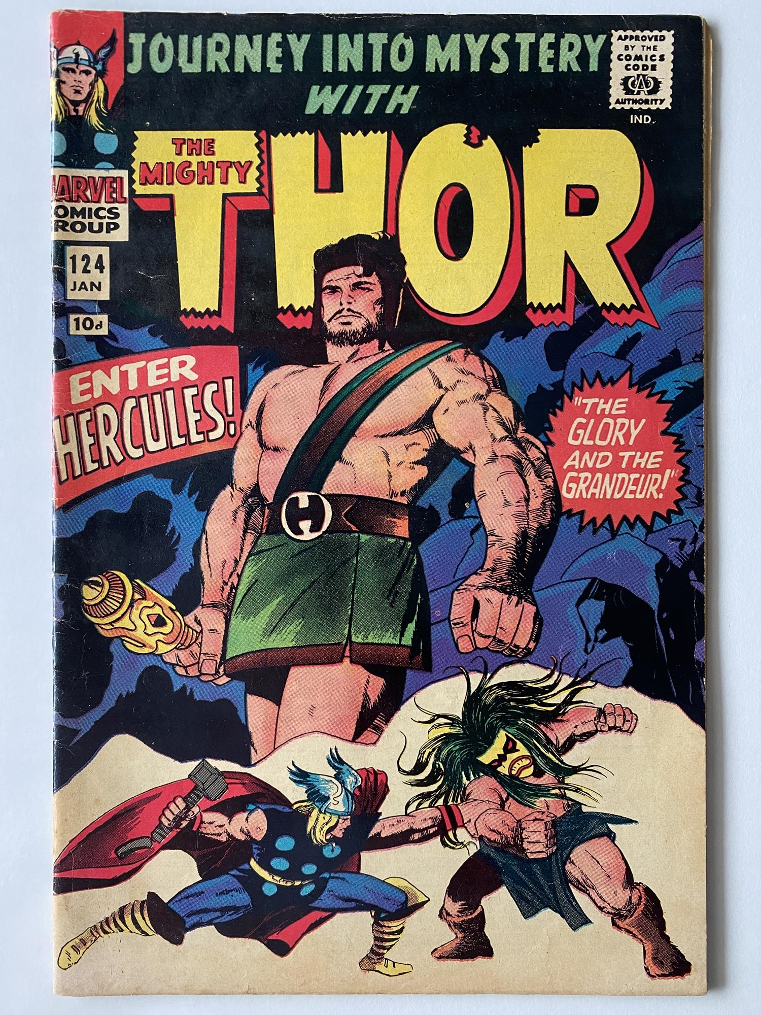 Lot 15 - THOR # 124 (1968 - MARVEL - Pence Copy) - Hercules cover + Thor reveals his secret identity to