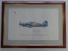 AUTOGRAPHS: DOUGLAS BADER - A print of a Hurricane (by Keith Broomfield for the RAF Museum) 'on
