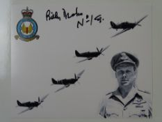 AUTOGRAPHS: A group of signed photographs of WWII pilots - BILLY DRAKE, JOHN FREEBORN, JOHN MILNE,