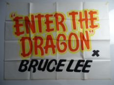 ENTER THE DRAGON (1976) : BRUCE LEE - hand painted UK Quad cinema poster