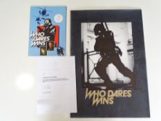 WHO DARES WINS (1982): A VIC FAIR photographic artwork concept sheet for the film together with a