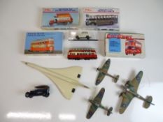 VINTAGE TOYS: A group of kit built aeroplanes, a k