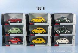 Konv. 9 Schuco Modellfahrzeuge, überwiegend VW-Käfer, dabei Deusche Bundespost, Polizei, Rallyewagen