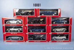 Konv. 11 Maisto Super Edition Modellfahrzeuge, dabei Pkw und Sportwagen, Metallausf., M 1:18, sehr