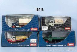 Konv. 4 Schuco Modellfahrzeuge, dabei MB L 319 Pritschenzug, Magirus S 6500 Rundhauber, Hanomag L 28