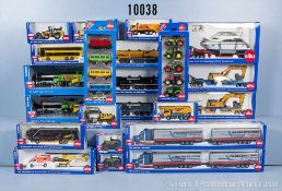 Konv. 30 Siku Super Serie Modellfahrzeuge, dabei Omnibus, Lkw, Sattelschlepper, Mobilkran usw.,