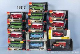 Konv. 13 Schuco Modellfahrzeuge, überwiegend T 1 oder T 2 Busse, Metallausf., M 1:43, sehr guter bis