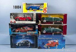 Konv. 7 Modellfahrzeuge, dabei Oldtimer, Sportwagen usw., Metallausf., M 1:18, versch. Hersteller,
