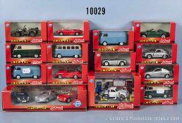Konv. 16 Schuco Junior Line Modellfahrzeuge, dabei Werkstatt-Diorama, Sportwagen, VW-Kastenwagen,