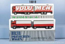 Konv. 2 NZG Pritschen-Lastzüge, dabei 1831 MB Pritschenwagen und 2433 MB L/6x2 Volumen-Fahrzeug,
